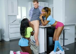 Ebony In Threesome
